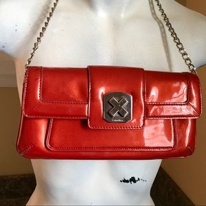 CALVIN KLEIN Small red patent with mirror & chain